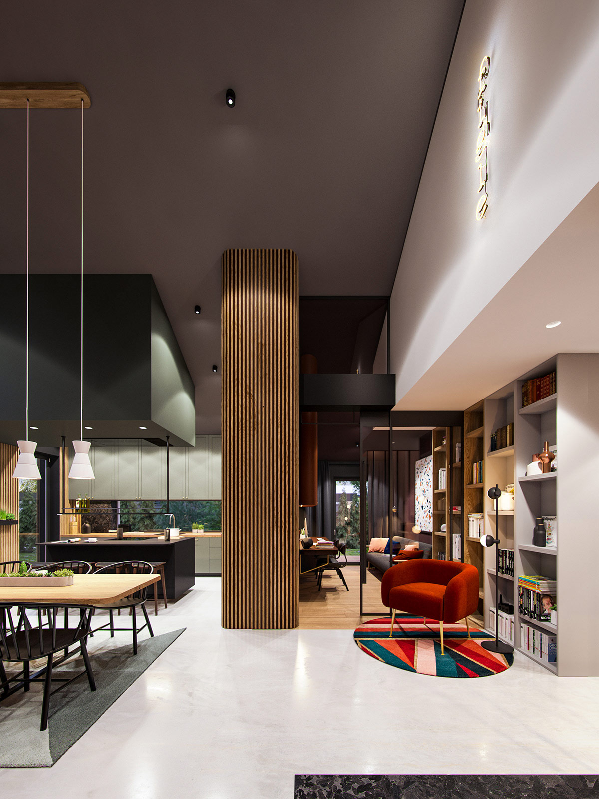 深绿色与木纹板条墙壁:时尚和温馨的星空豪宅
