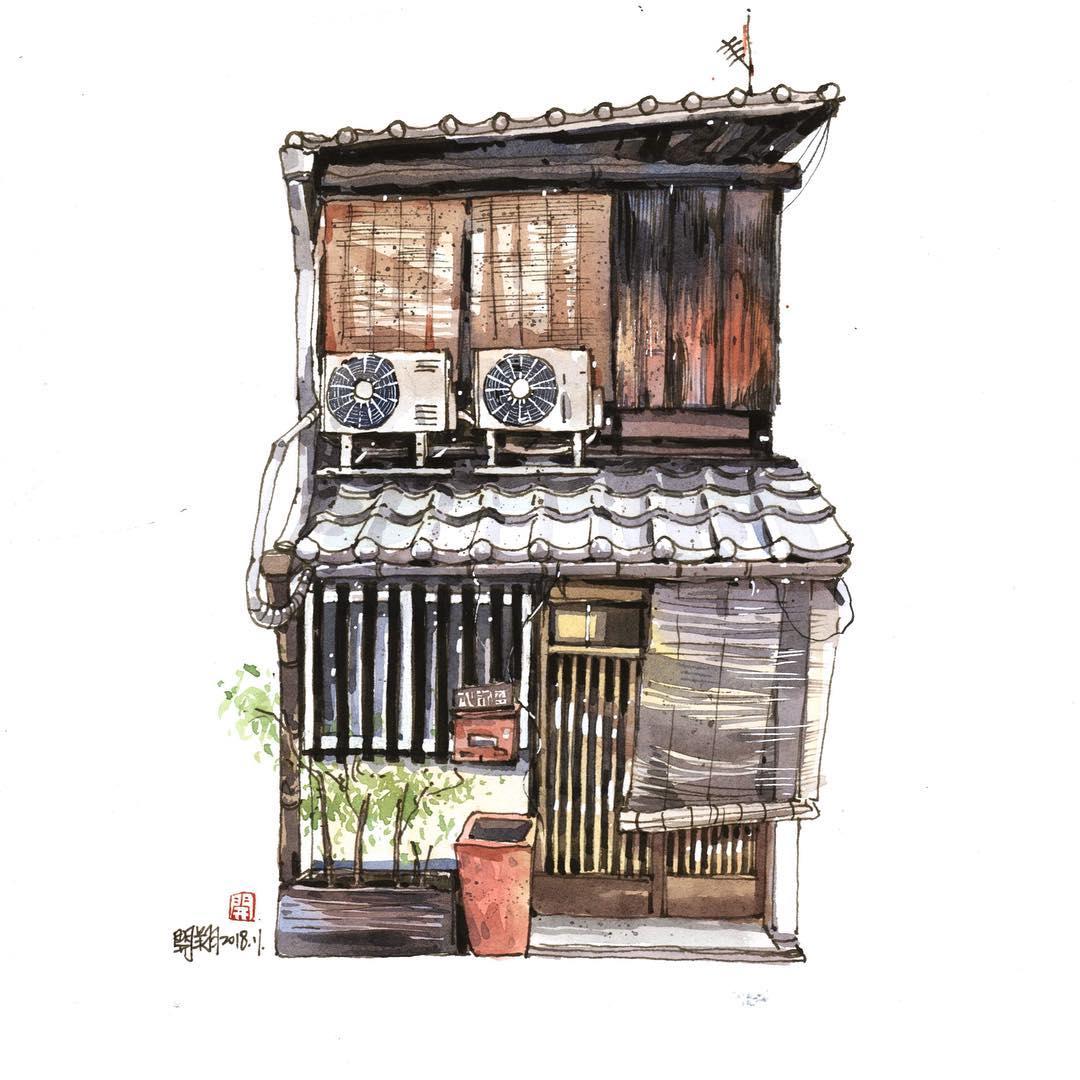 台湾画家郑开翔Cheng Kai-Hsiang城市街景写生作品