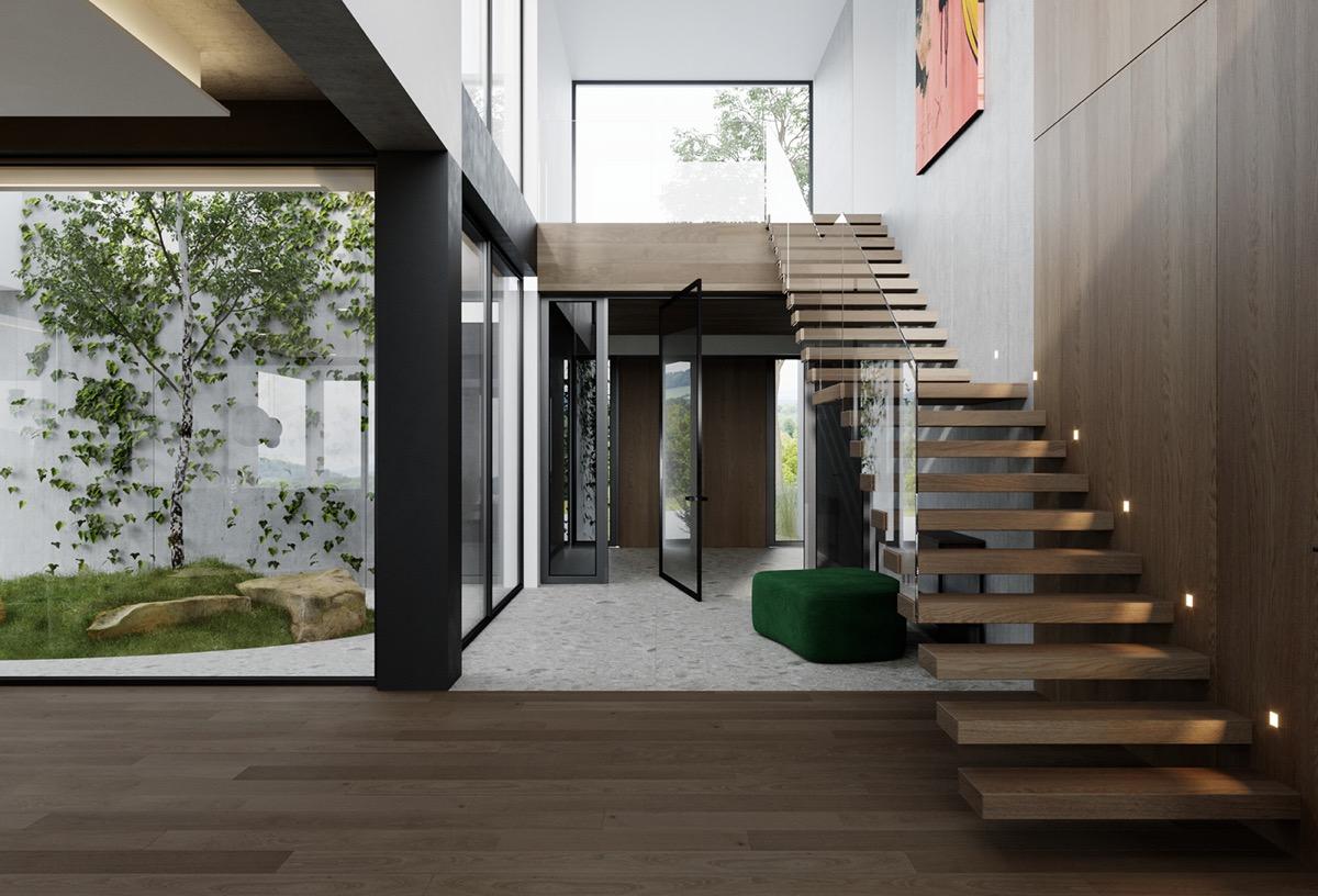拥有精致庭院和浮动楼梯的高档现代住宅设计