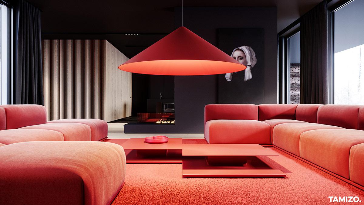 红与灰搭配的独栋豪宅设计