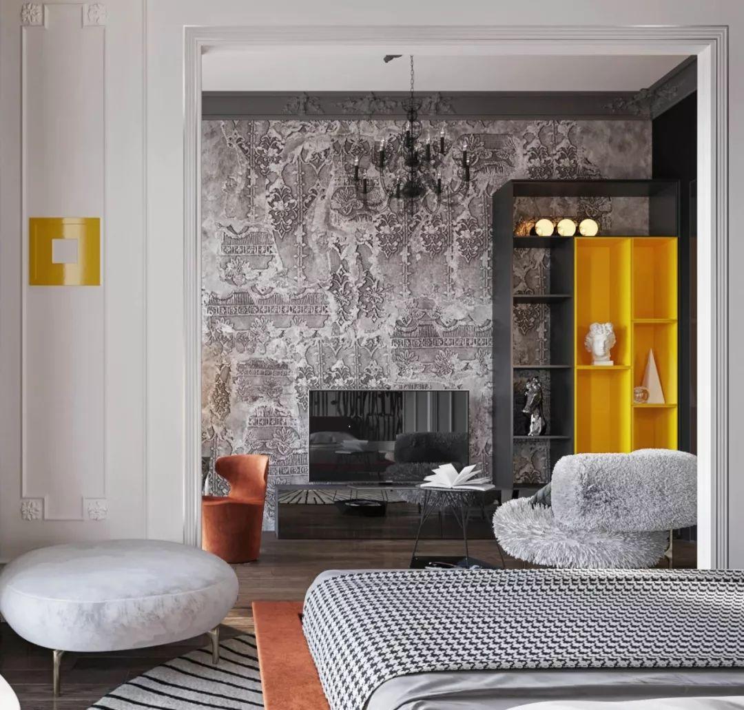 高级灰+橙:奢华优雅的豪宅设计