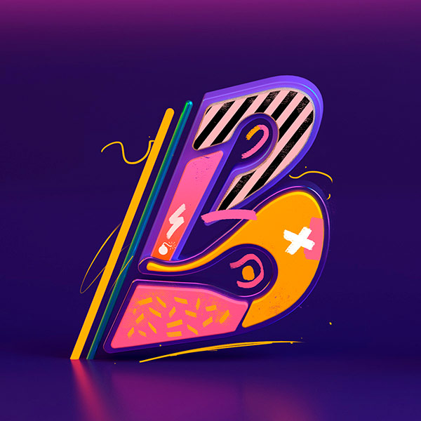 Prateek Vatash创意3D字母设计