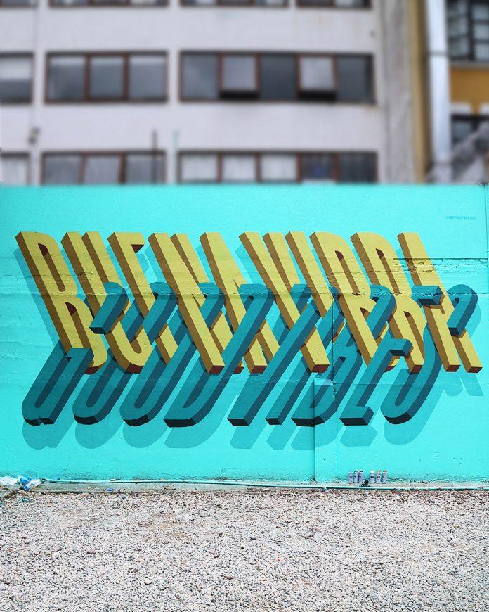 Ben Johnston立体文字风格街头壁画艺术