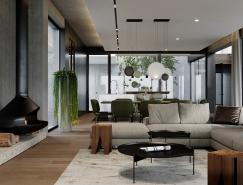 拥有精致庭院和浮动楼梯的高档现代住宅,体育投注