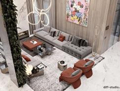 充满年轻个性的豪华现代家居室内皇冠新2网