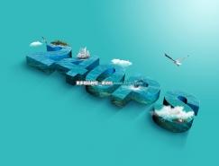 Photoshop制作大氣的海洋立體字