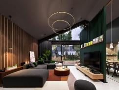 深绿色与木纹板条墙壁:时尚