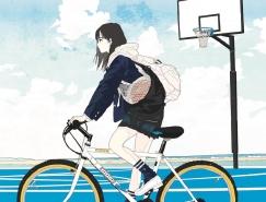 日本插画家rei kato清新风女孩插画