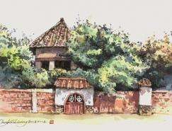 臺灣畫家鄭開翔Cheng Kai-Hsiang城市街景寫生作品