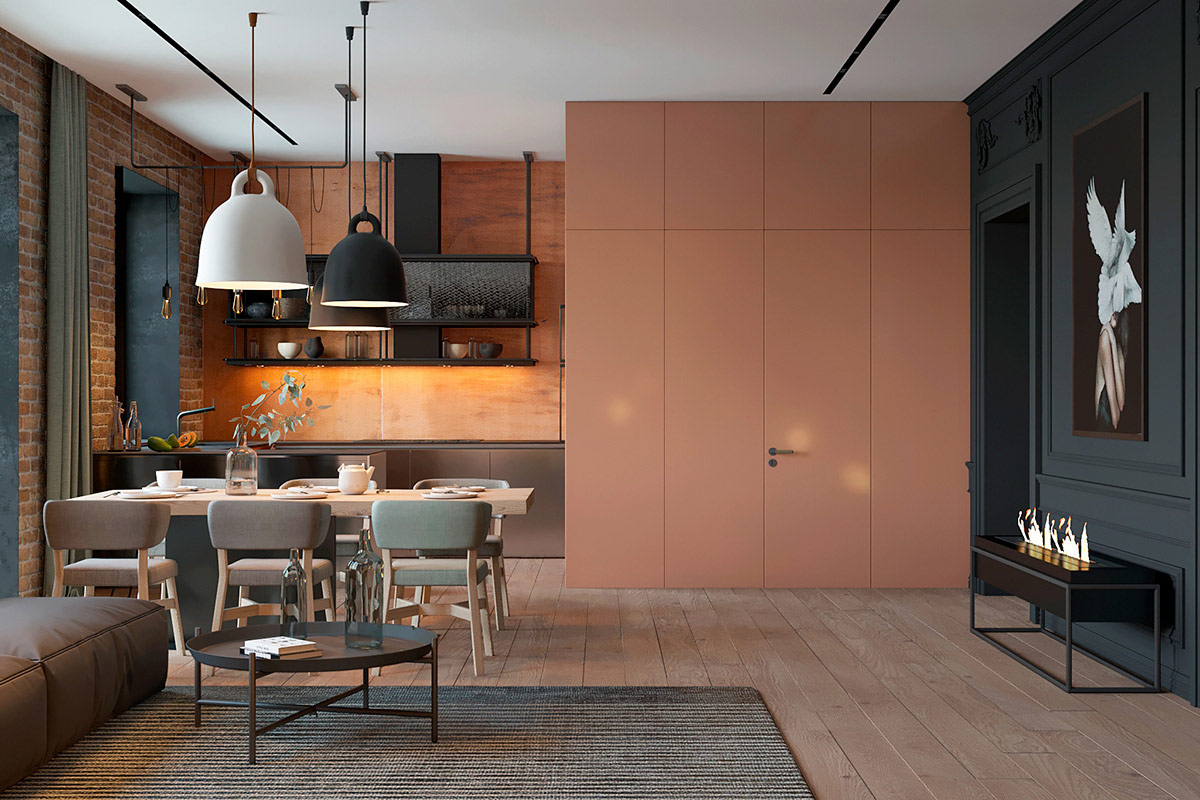 深灰色搭配砖墙 打造135平米潮流公寓