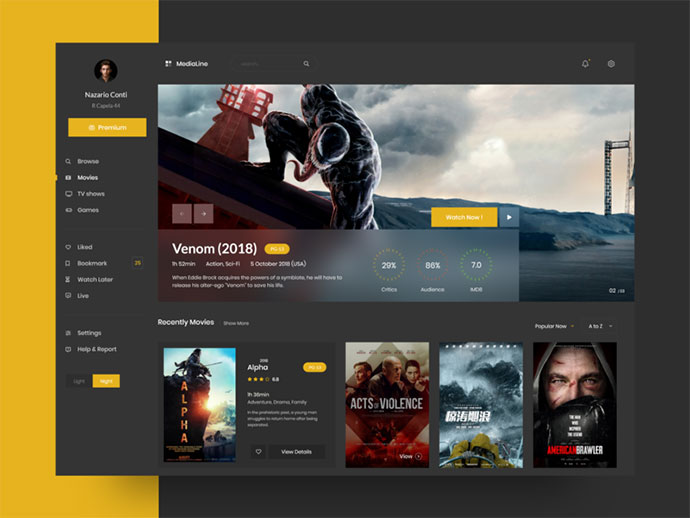 40个电影和电视网站概念设计