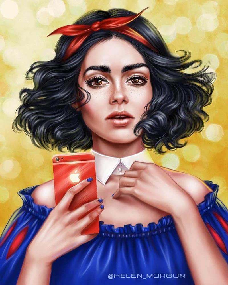 美貌女明星被画成迪士尼公主:helen morgun插画欣赏