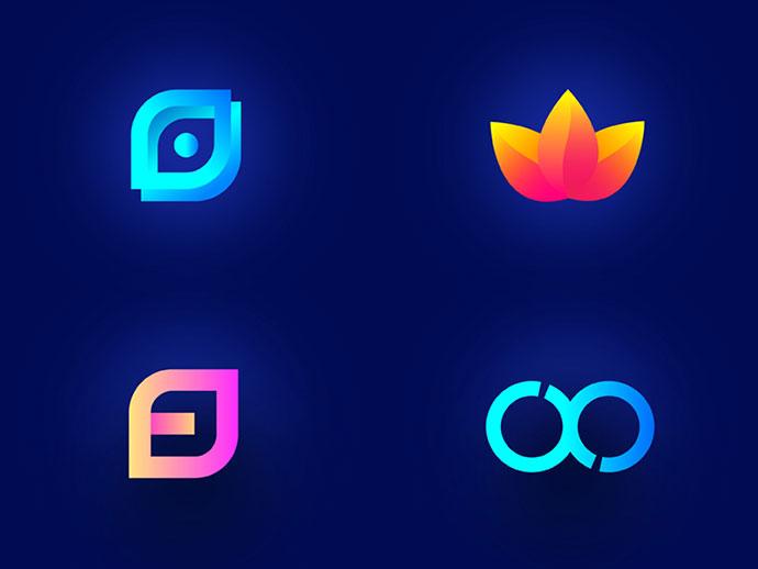 50款创意3D渐变logo设计
