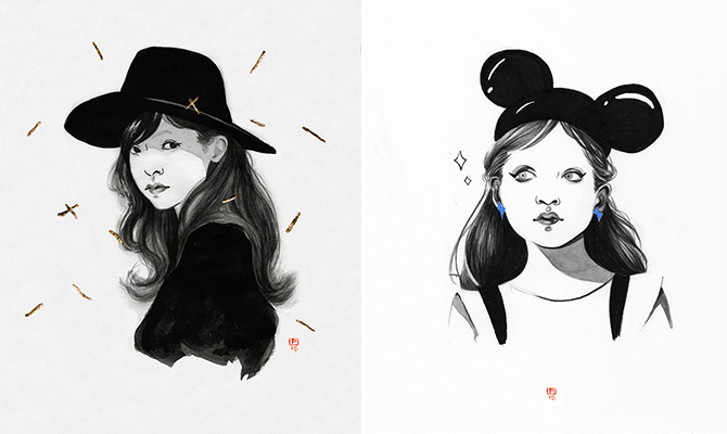 Paulette Jo女孩肖像插画作品