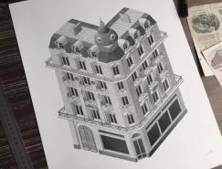 法國藝術家Xavier Casalta: 針管筆點畫法創作的精致插畫作品