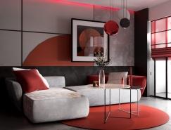 红灰配色的现代住宅装修设计
