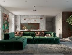 3个金属铜饰面效果的住宅装修设计