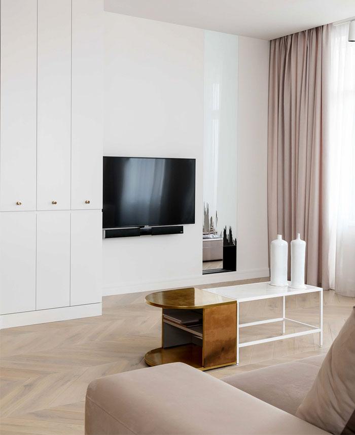 金色点缀,基辅简约而奢华的现代公寓