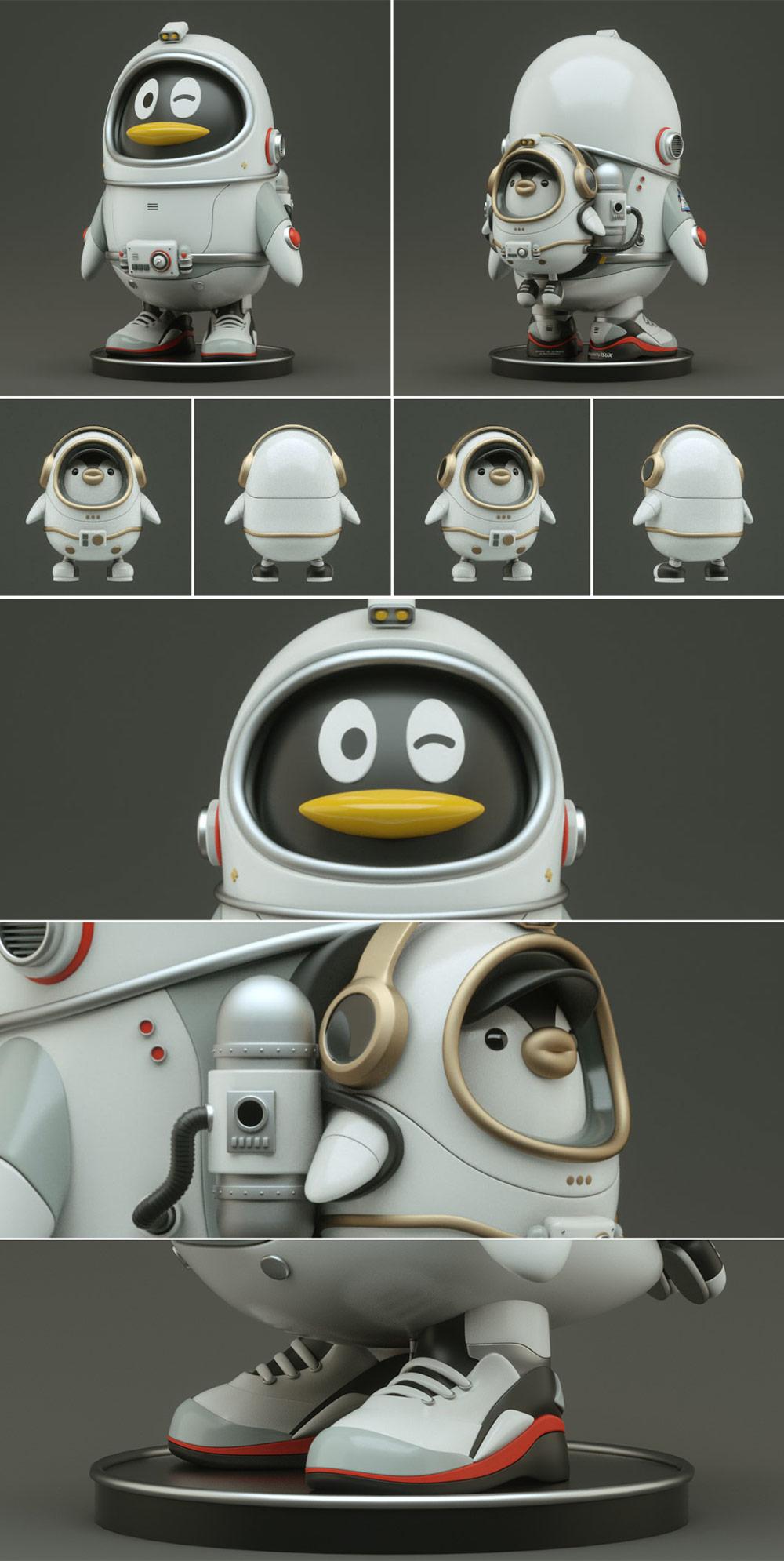 太空企鹅探索科技,腾讯QQ 20周年主题形象设计