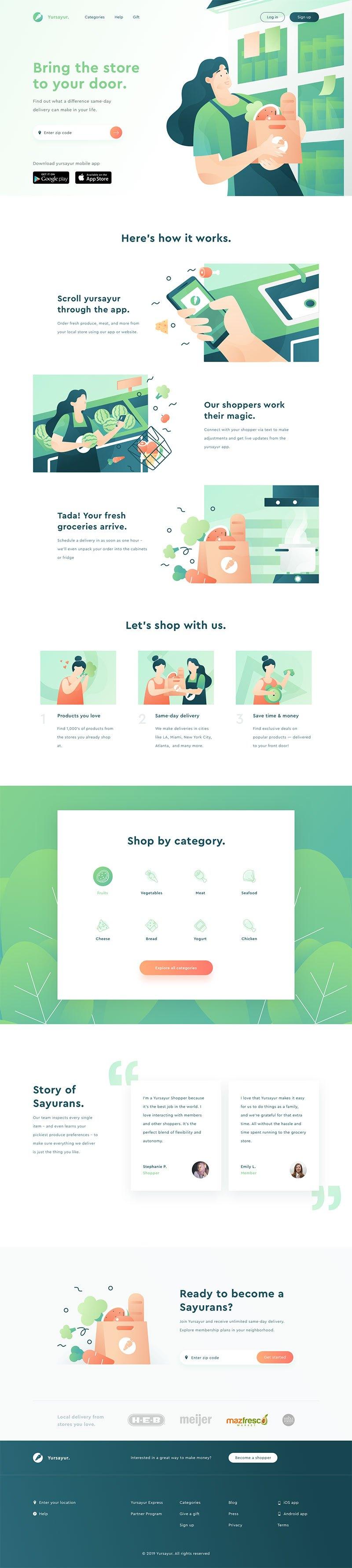 12例运用插画的网页设计作品欣赏