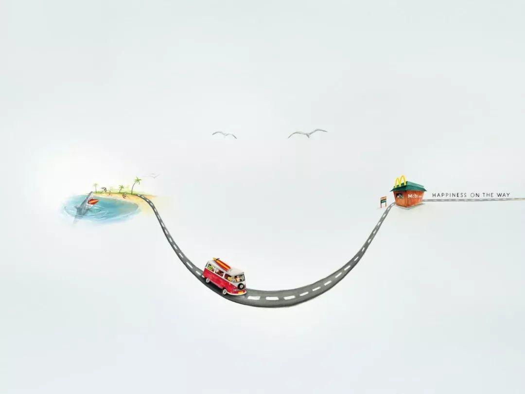 幸福在路上:麦当劳平面广告