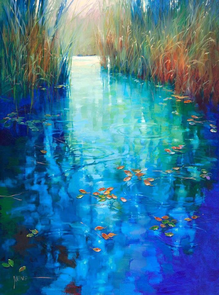 诗意的色彩:Donna Young睡莲和人物油画作品