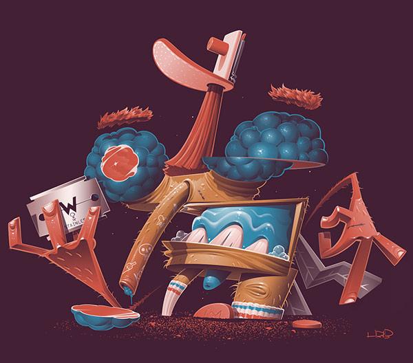 Tom HRVB风格独特的角色插画设计