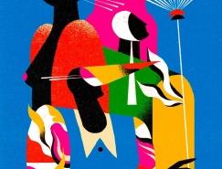 丰富的色彩和纹理:Willian Santiago抽象人物插画