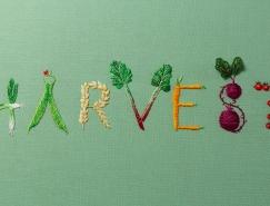 Jessica Dance创作的刺绣字体艺术