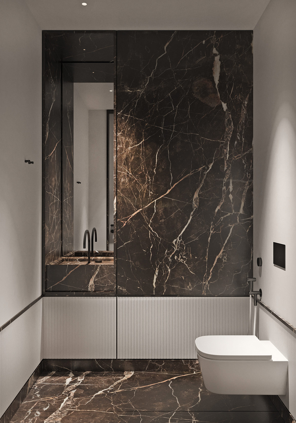 豪华大理石墙面与木质护墙板打造的280平米现代豪宅