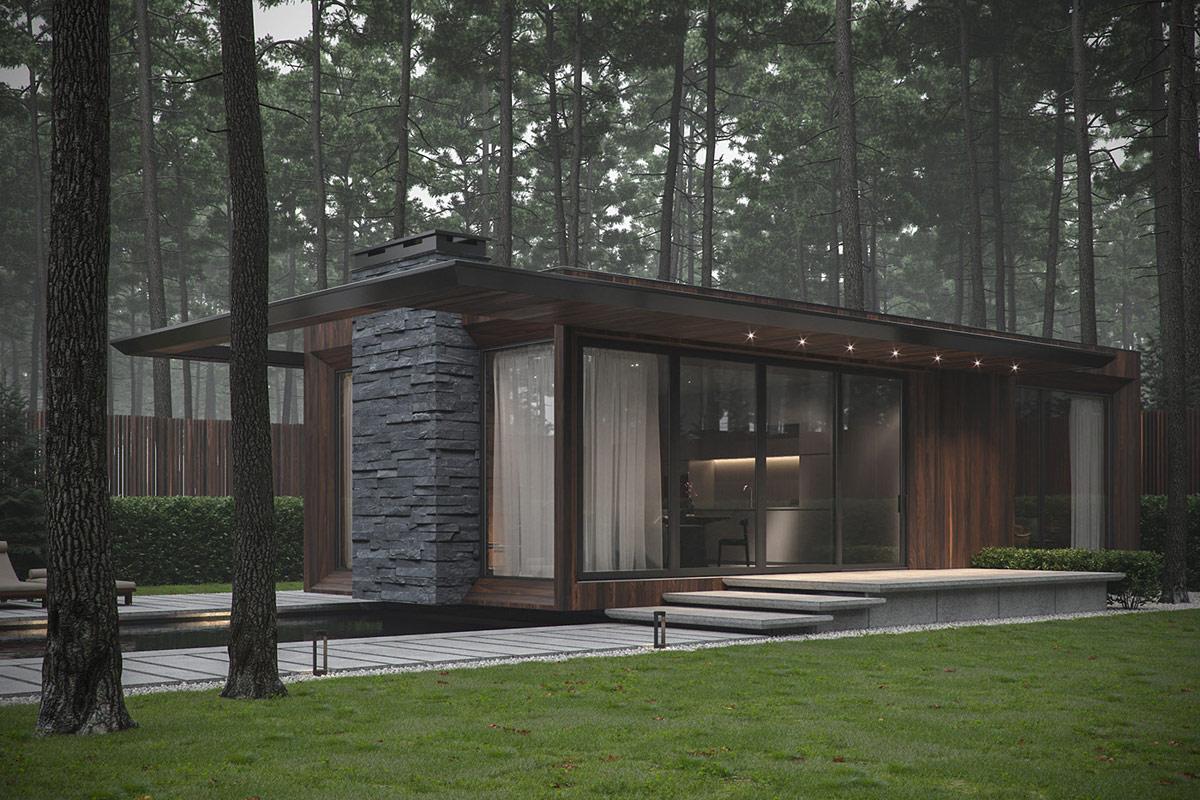 乌克兰现代自然风格的森林别墅