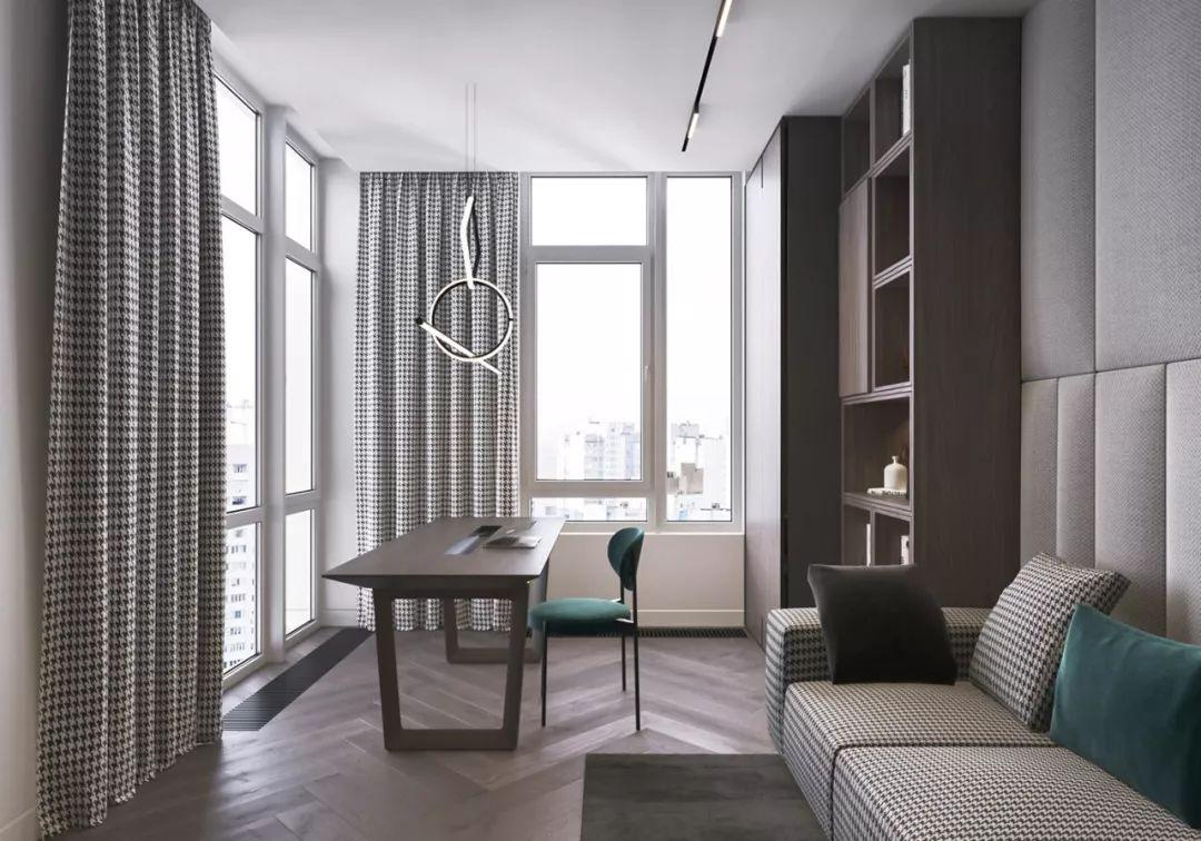 灰色和墨绿搭配内敛的木质肌理:182平米高雅气质住宅