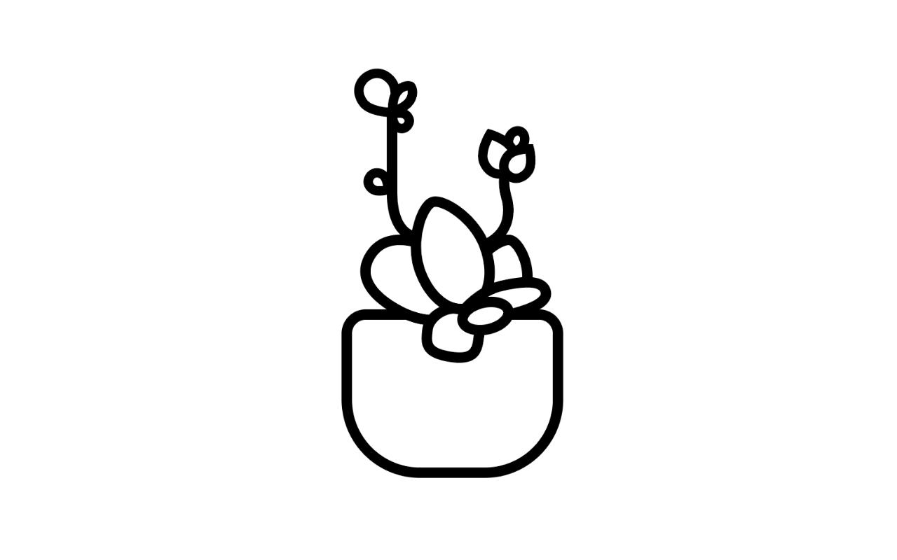 AI绘制一枚多肉植物扁平风线体插画