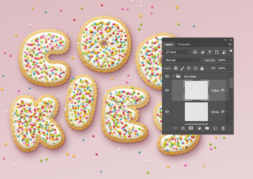 ps制作美味的饼干字体