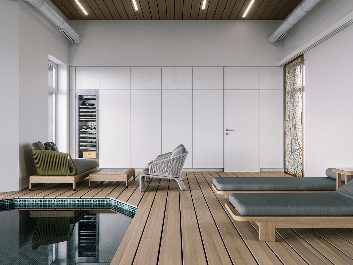 拥有室内游泳池和SPA:俄罗斯现代风格乡间别墅