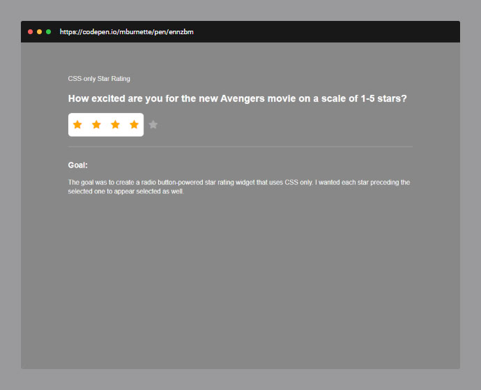 25款纯CSS的星级评定效果实例欣赏