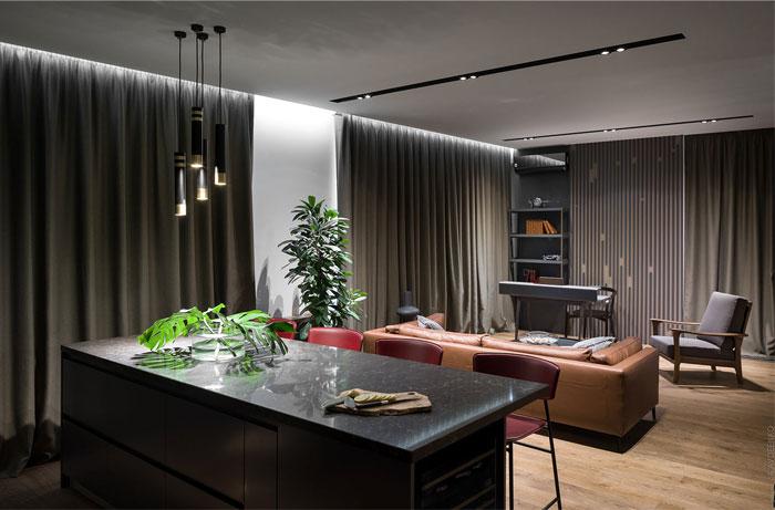 充满阳刚气的深色现代公寓