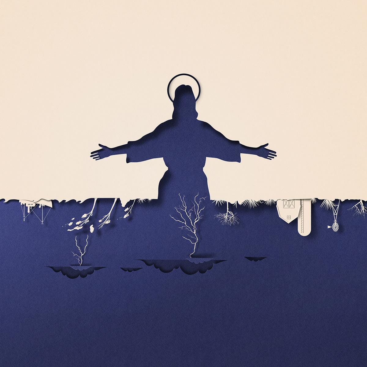 聚焦气候变化主题:Eiko Ojala剪纸风格插画