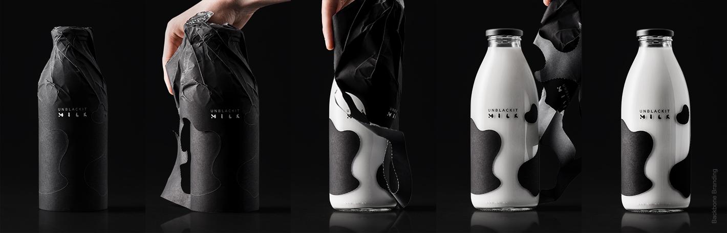 掀起你的黑盖头:神秘感的Unblackit牛奶包装