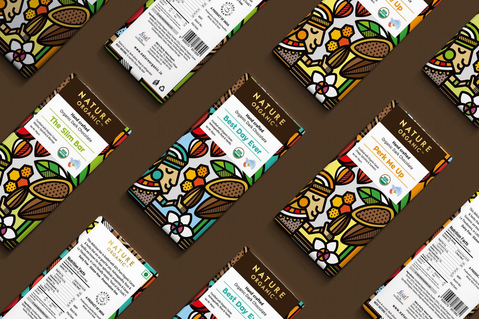 精美的插画元素 Nature Organic手作有机巧克力包装设计