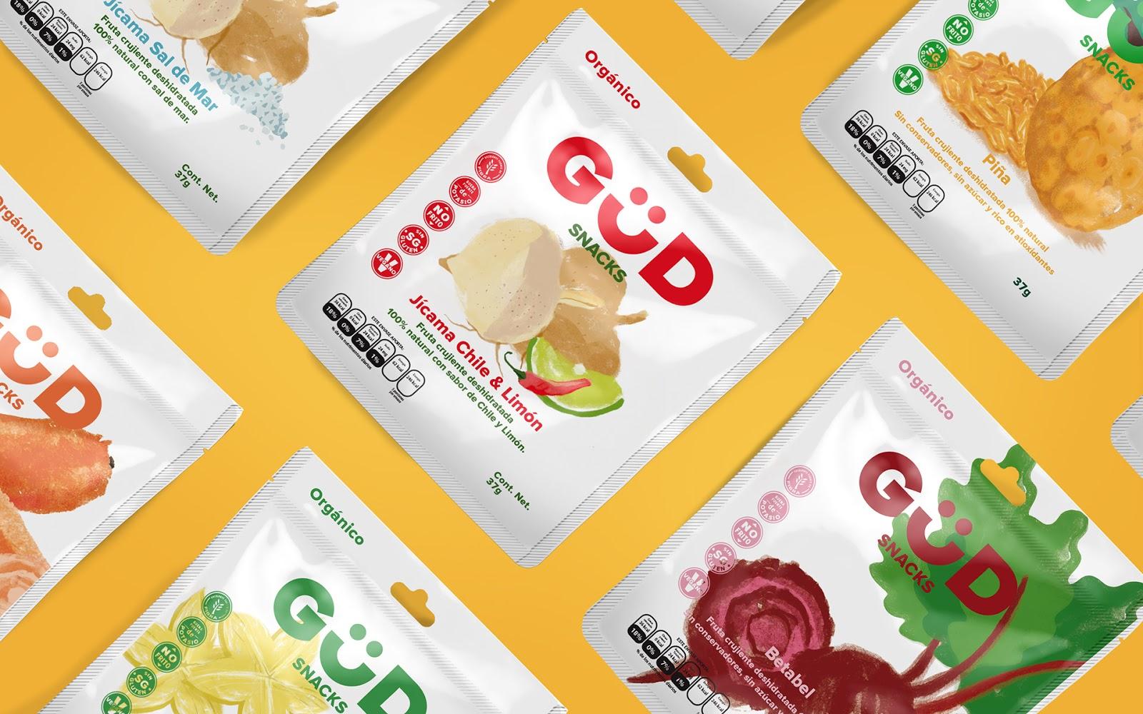 GUD果汁和干果包装设计