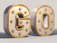 用PS中的3D功能製作金屬材質的文字