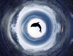 Photoshop极坐标滤镜制作地球全景图
