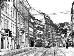 PS濾鏡把城市建築照片轉成素描線稿效果