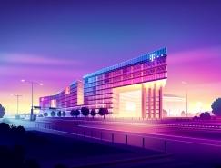 Romain Trystram前卫和未来主义风格的建筑风光插画