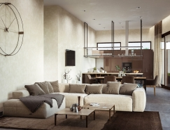 奶油色和咖啡色搭配 时尚而精致的现代公寓设计