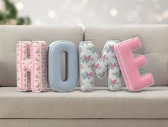 PS制作立体可爱沙发靠枕文字