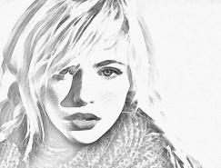 PS調色教程:彩色鉛筆素描風格人像照片