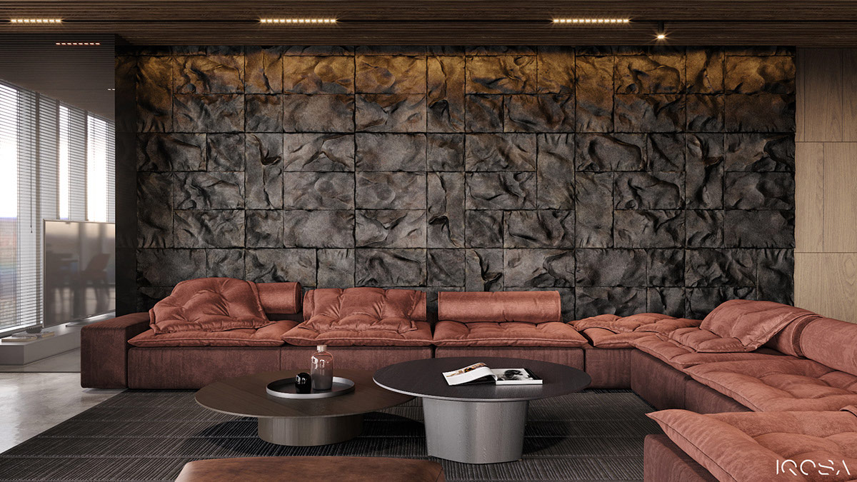 烟熏灰色与温馨的环境照明打造的现代时尚家