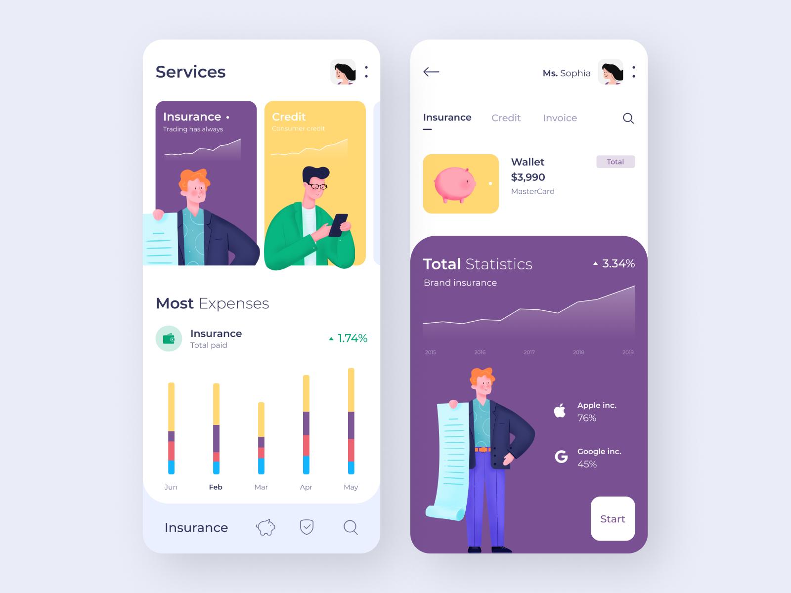 清新简约的银行App概念UI设计
